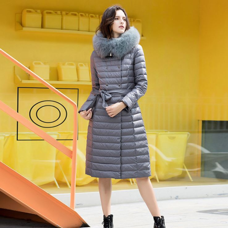 Overknee Iridescent Hooded Faux-Fur-Trim Puffer Coat