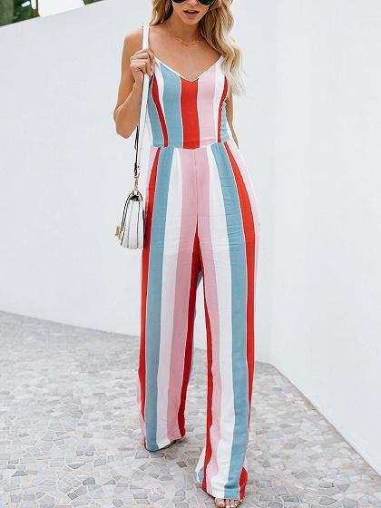 Dekorhea Multicolor V-neck Chic Women Jumpsuit