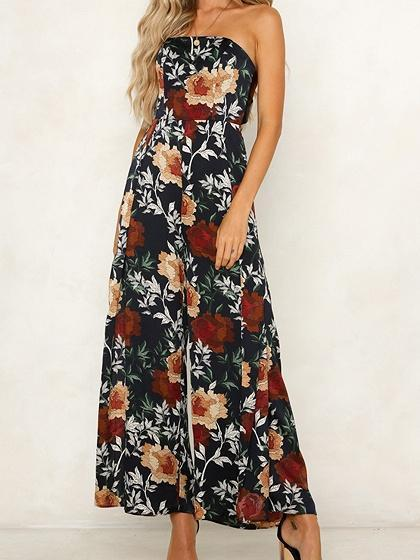 Dekorhea Black Floral Print Jumpsuits And Rompers