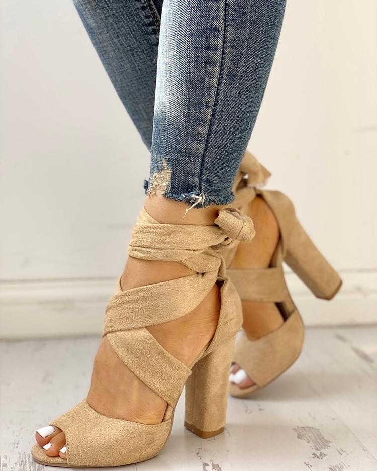 Dekorhea Peep Toe Crisscross Bandage High Heels Sandals