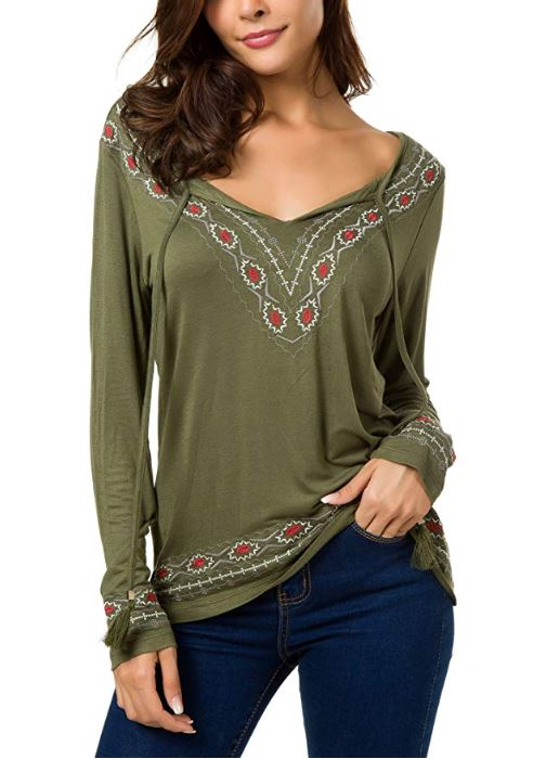 Dekorhea Women's Long Sleeve Boho Tops Tie Neck Embroidered Detail