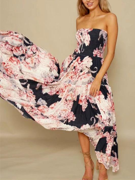 Dekorhea Bohemia Floral Off-shoulder Backless Maxi Dress