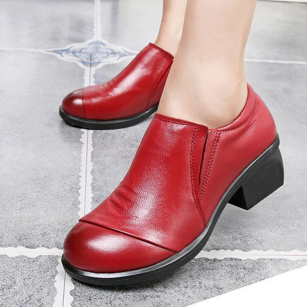 Handmade Retro Ankle Pure Color Leather Shoes