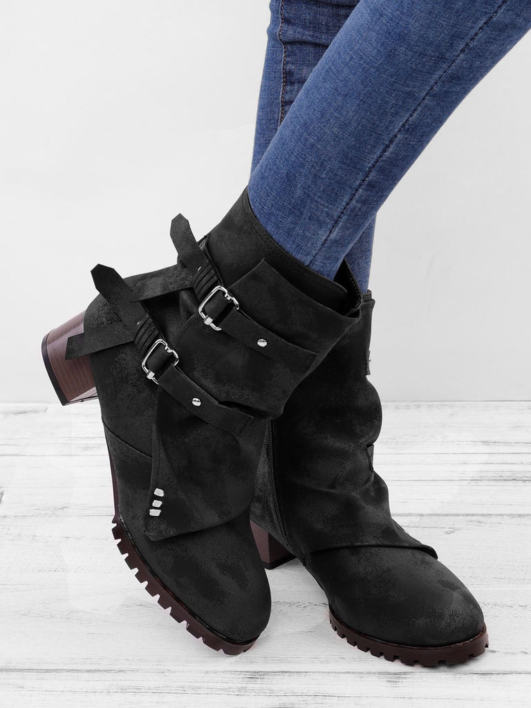 Women Vintage Buckle Boots Side Zipper Round Toe Plus Size Boots