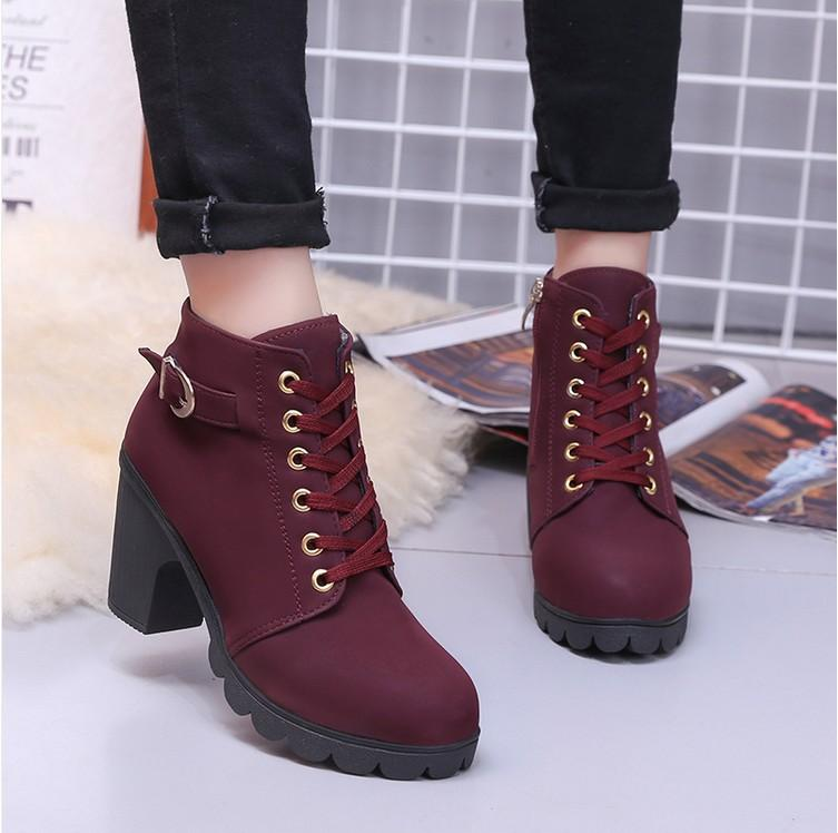 Female Boots High Heel Platform Martin Boots with Buckle Shoes Marten Wedge All Seasons