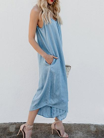 Dekorhea Light Blue Cotton Spaghetti Strap V-neck Jumpsuits For Women