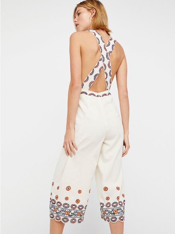 Dekorhea Plunge Embroidery Trim Cross Back Wide Leg Jumpsuit