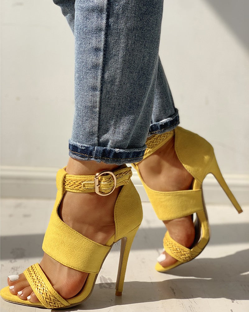 Dekorhea Suede Open Toe Braided Detail Thin Heels