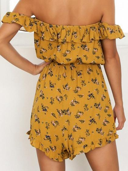 Dekorhea Yellow Floral Print Off Shoulder Jumpsuits And Rompers