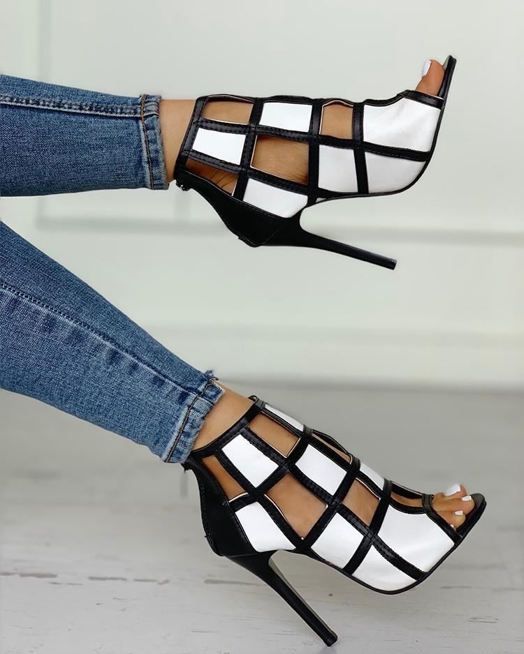 Dekorhea Contrast Color Peep Toe Caged High-heel Sandals