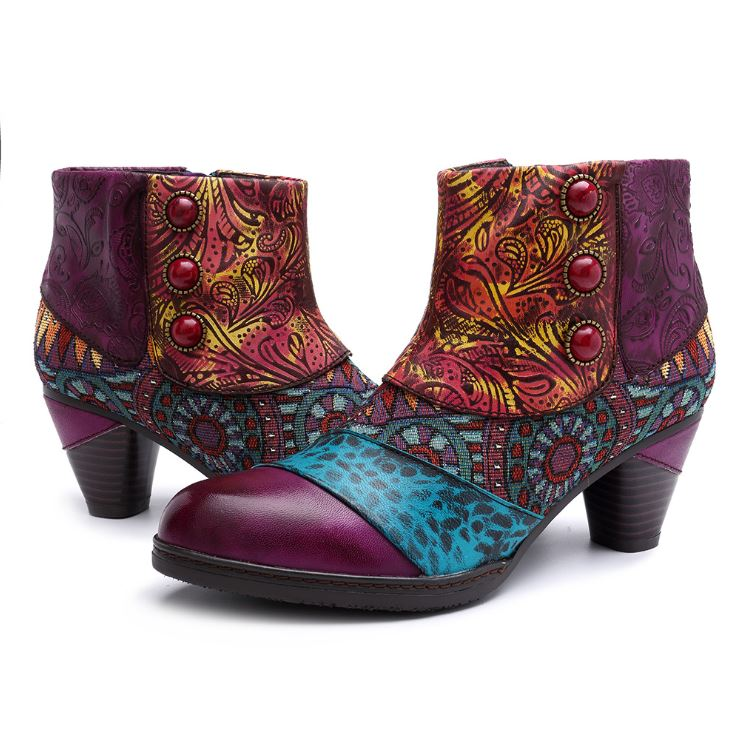 Dekorhea Ethnic Style Womens Ankle Boots