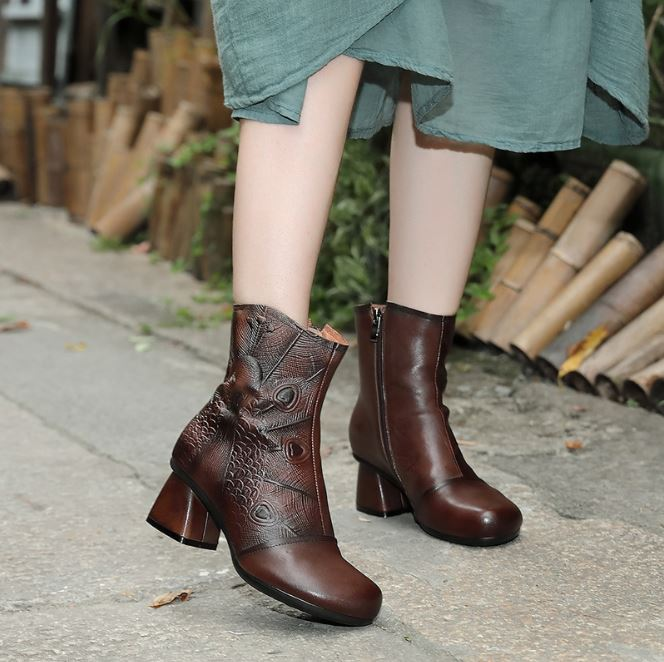 Dekorhea Brand New Arrival Chunky Heel Vintage Mid-Calf Boots Ankle Boots