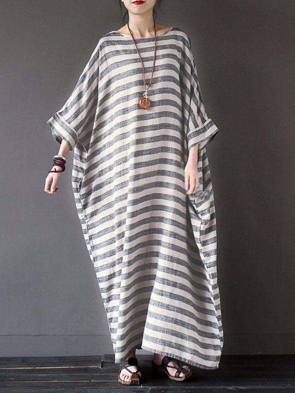 Dekorhea Retro Striped Loose Ramie Cotton Maxi Dress