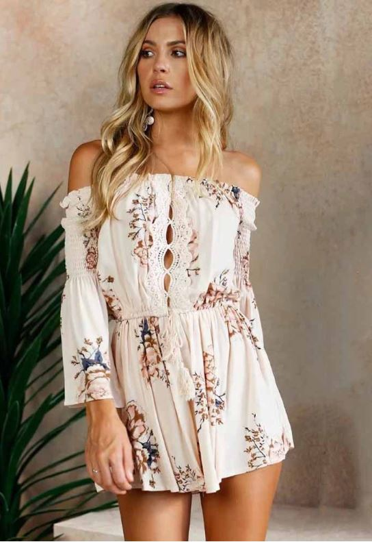 Dekorhea Off Shoulder Tie Waist Women Jumpsuits