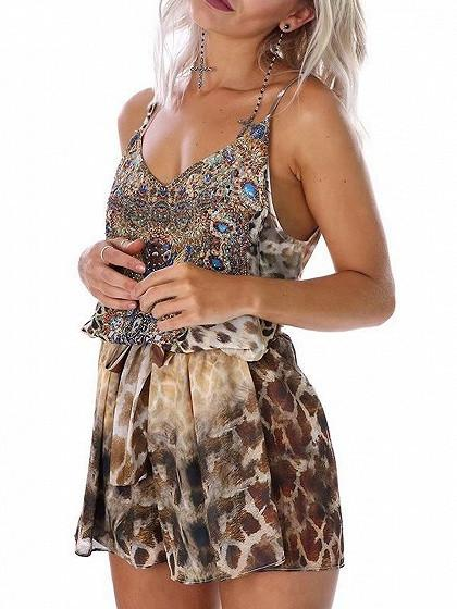Dekorhea Leopard Print V-neck Hot Diamond Women Jumpsuits