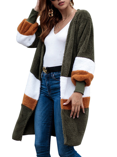 Dekorhea Striped Cashmere Knitted Elegant Winter Color-block Teddy Bear Cardigan