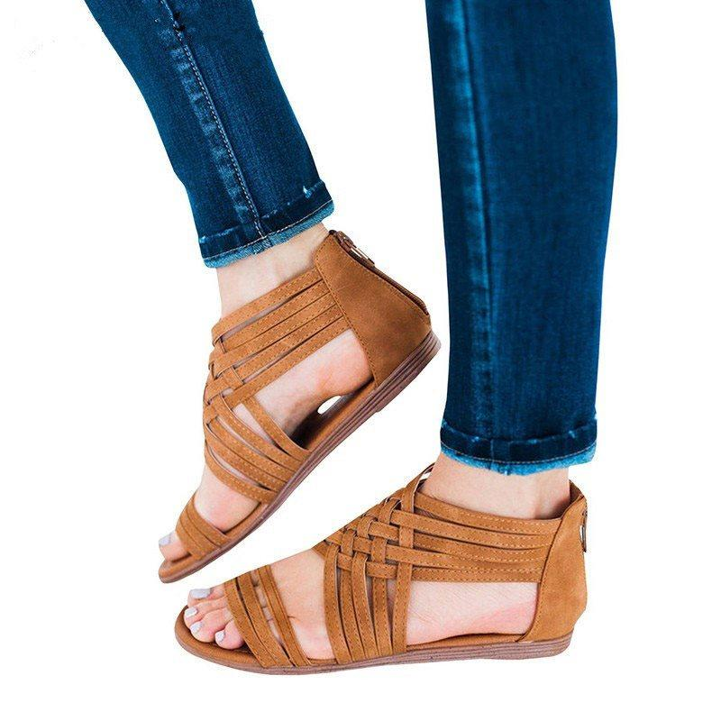 Heel Covering Block Heel Zipper Open Toe Thread Western Sandals