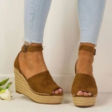 Dekorhea Women Espadrilles Daily Nubuck Sandals Creepers Wedges