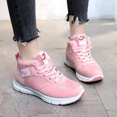 Women Winter Outdoor Sneakers Hiking Warm Lining Lace Up Shoes