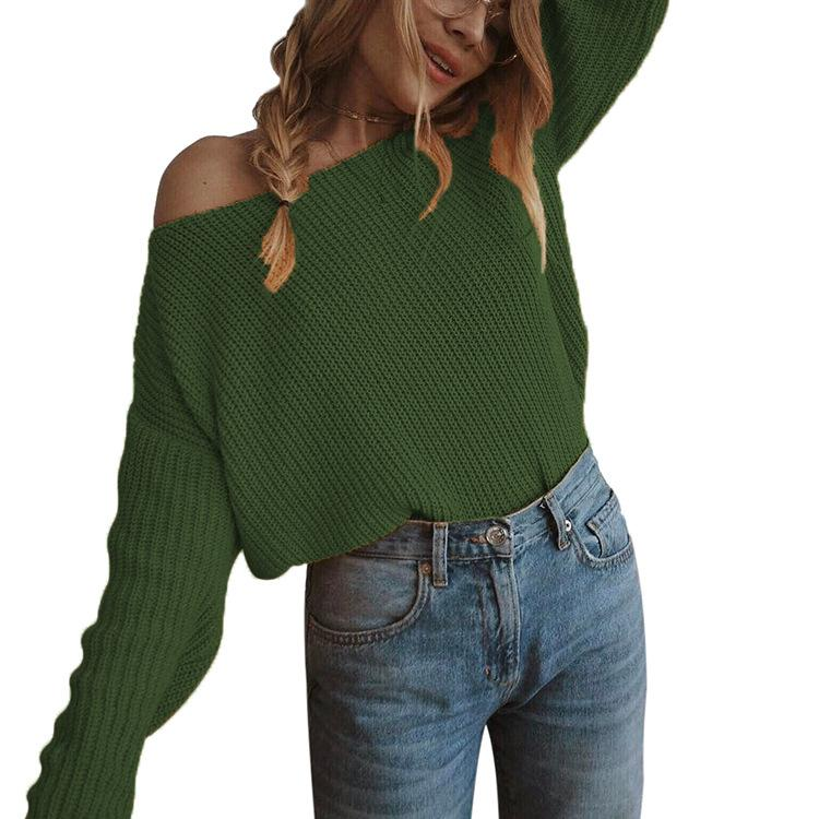 Mustard Yellow Boat Neck Off the Shoulder Sweater