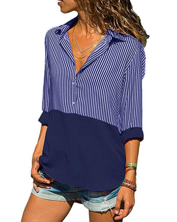 Polyester V Neck Patchwork 3/4 Sleeves Button Up Blouses