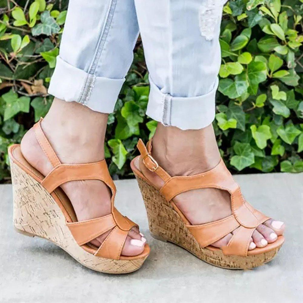 Slingback Strap Buckle Wedge Heel Round Toe Casual Hollow Sandals