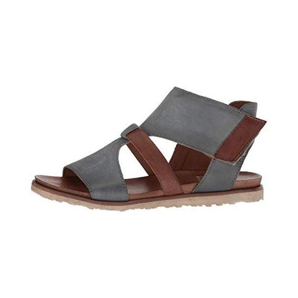 Open Toe Zipper Color Block Thread Flat Sandals