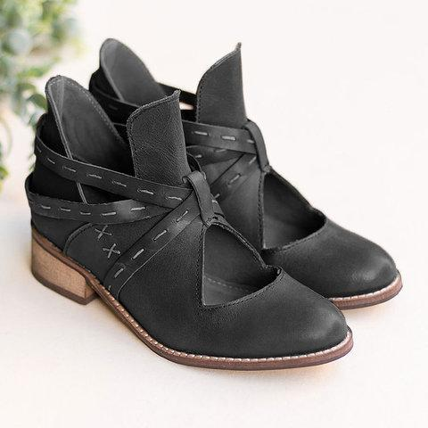 Women Vintage Ankle Boots Casual Chic Hollow Out Boots