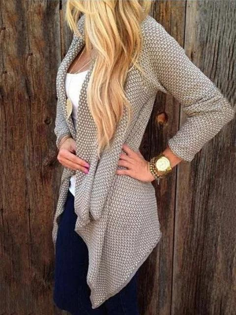 Dekorhea Long Sleeve Knitted Polka Dots Knitted Casual Cardigan