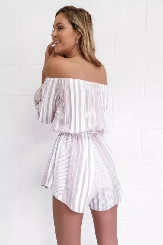 Dekorhea Stripe Cotton Blend Off Shoulder Romper Jumpsuit