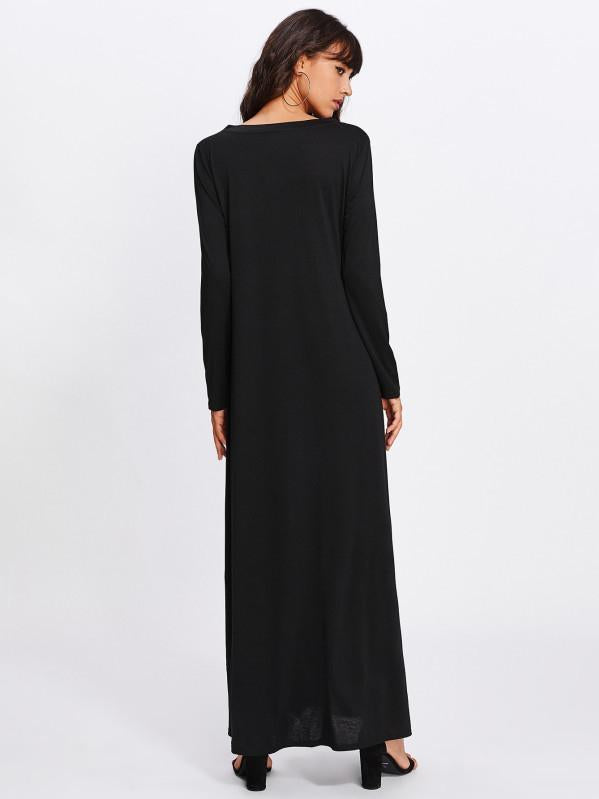 Dekorhea Simple Black Long Sleeves Maxi Dress