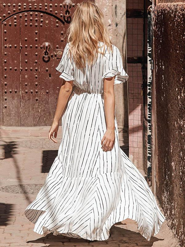 Dekorhea Striped Bow- Deep V-neck Maxi Dress