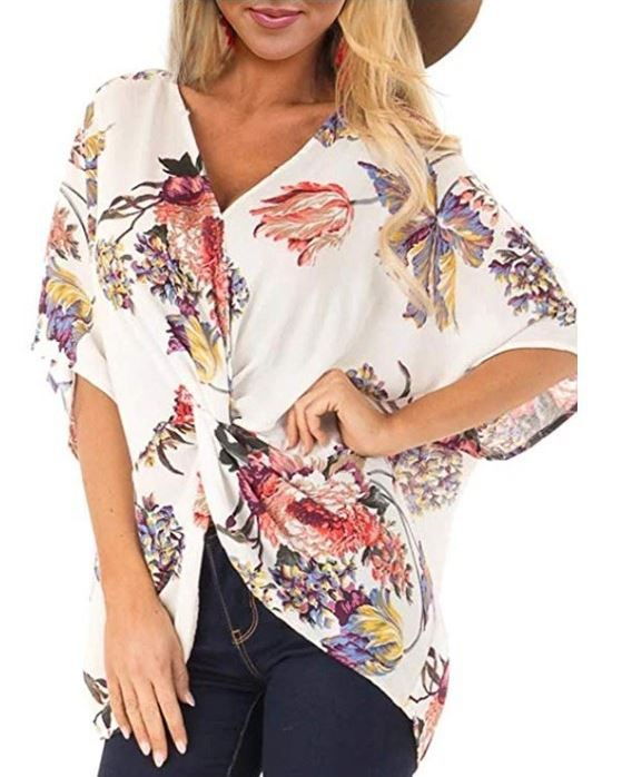 Dekorhea Womens Fashion Floral Print Shirts Short Sleeve V Neck Twist Tops and Blouse