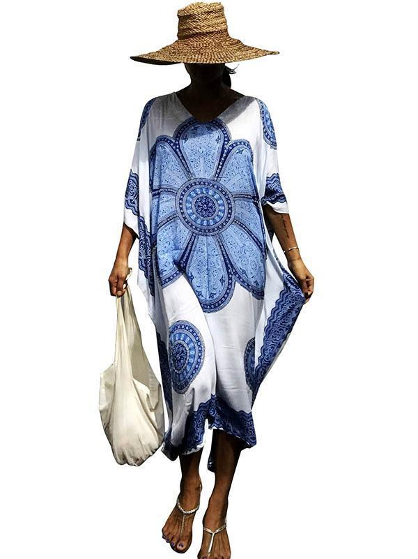 Dekorhea Printed Loose Kaftan Cover-up Dress