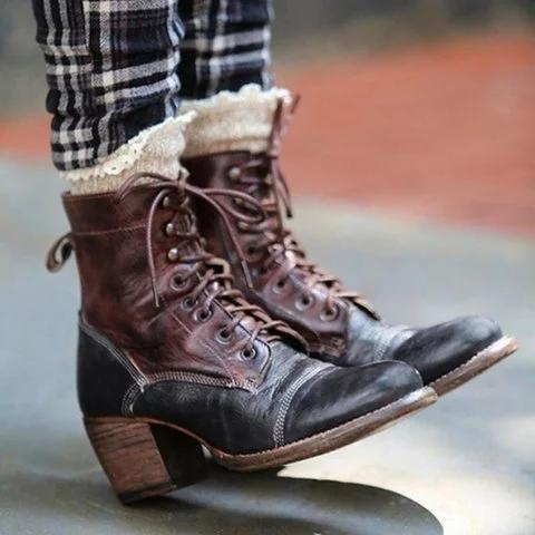 Women Vintage Chunky Heel Color Block Boots Casual Chic Zipper Boots
