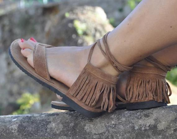 Camel Suede Leather Sandals,Fringe Hippie Leather Sandals,Thong Camel Sandals