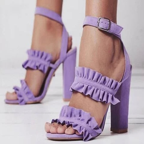 Women Peep Toe Ruffles Sandals Adjustable Buckle Chunky Heel Shoes