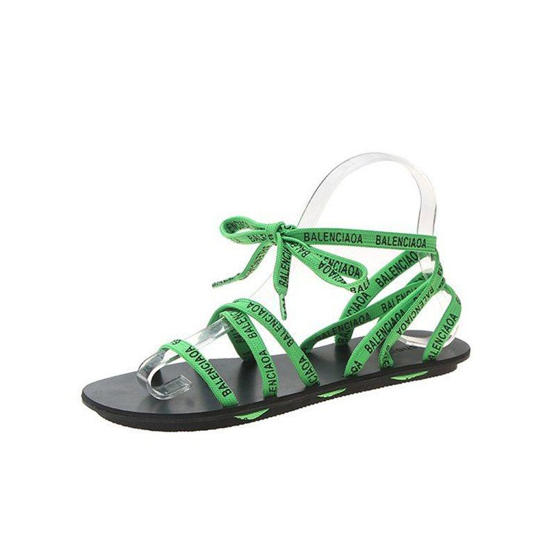 Lace-Up Open Toe Ankle Strap Casual Hollow Sandals