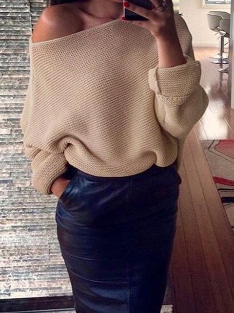 Casual Raglan Sleeve Crew Neck Knitted Winter Plus Size Sweater