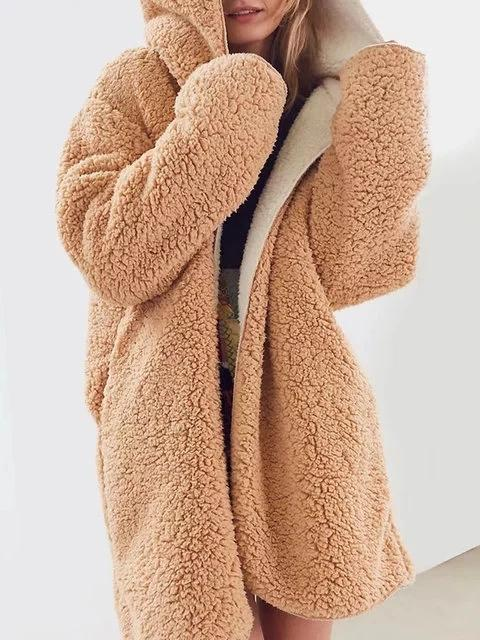 Pockets Hoodie Casual Faux fur Winter Solid Teddy Bear Coat