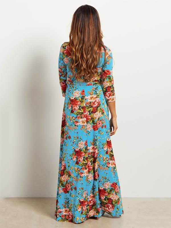 Dekorhea Floral Printed V-neck Maxi Dress