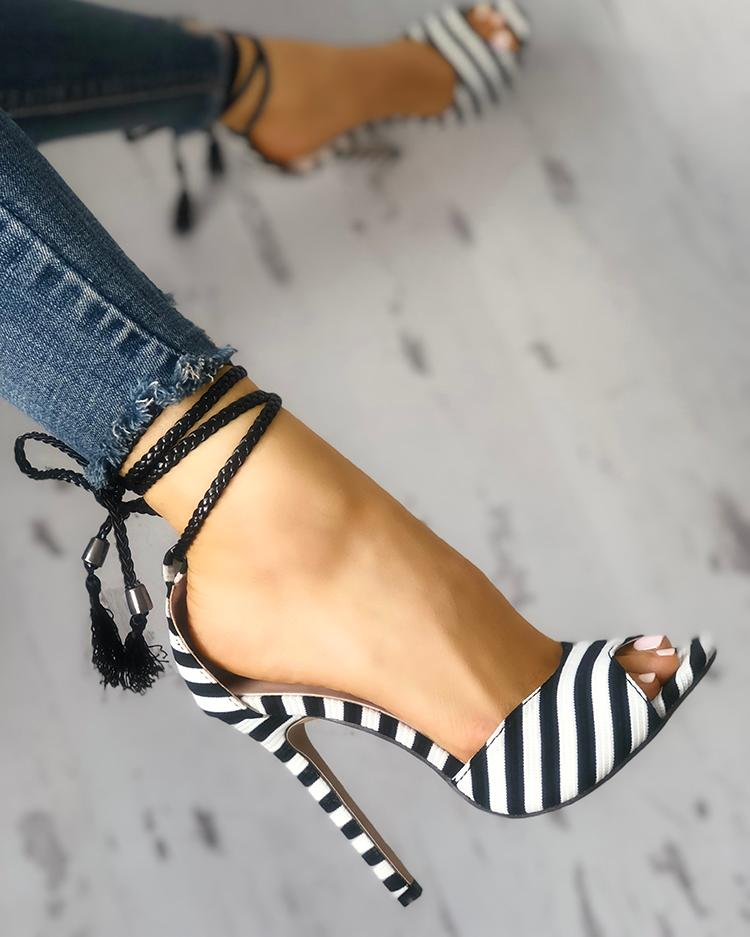 Dekorhea Stripes Single Strap Thin Heeled Sandals