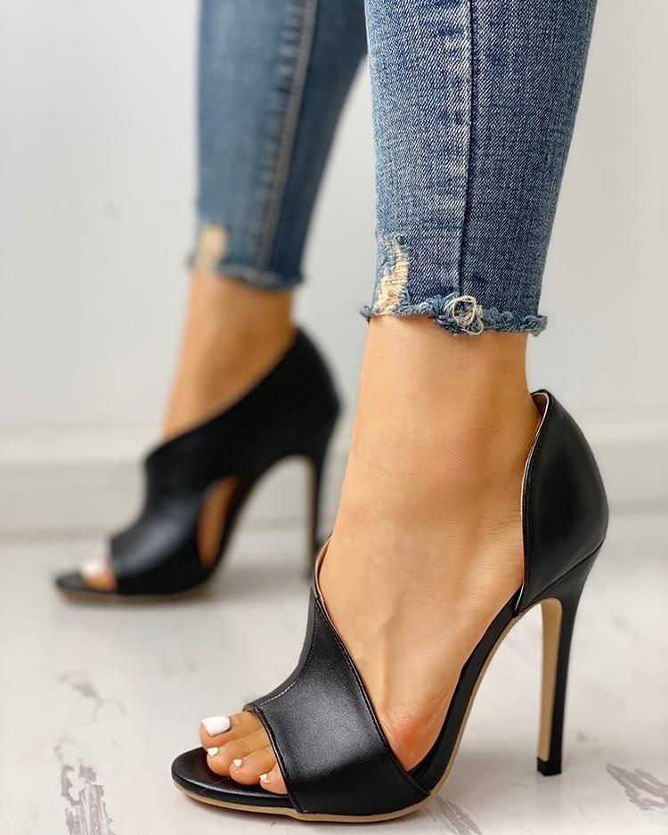Dekorhea PU Cutout Peep Toe Thin Heeled Sandals