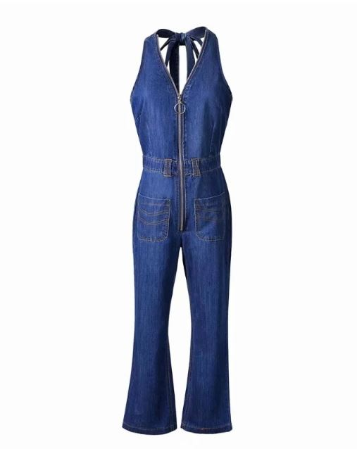 Dekorhea Blue Halter V-neck Open Back Denim Jumpsuit