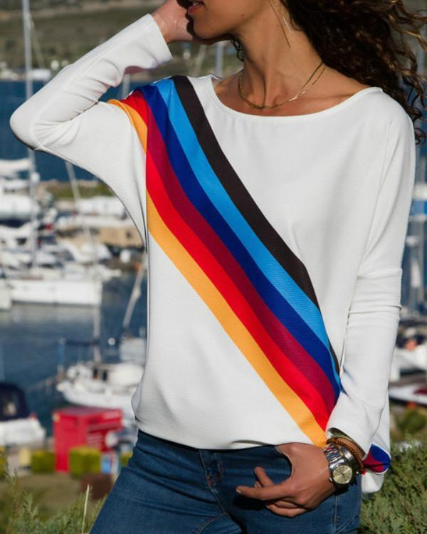 White Stripes Rainbow Casual T-Shirts