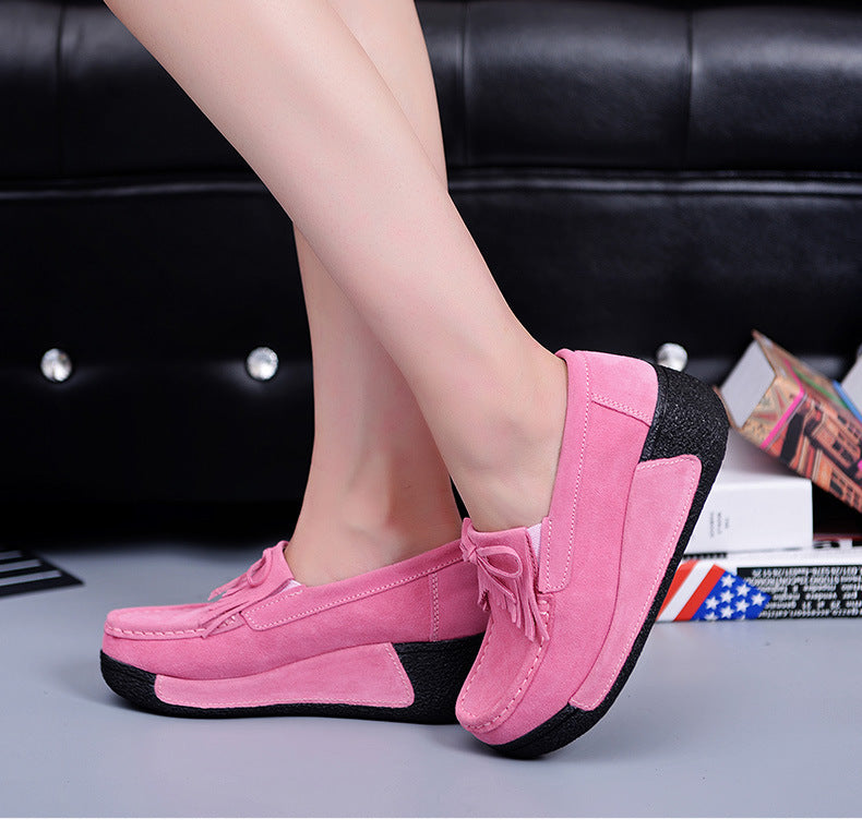 Platform Women Suede Lace-up Sneakers Boots