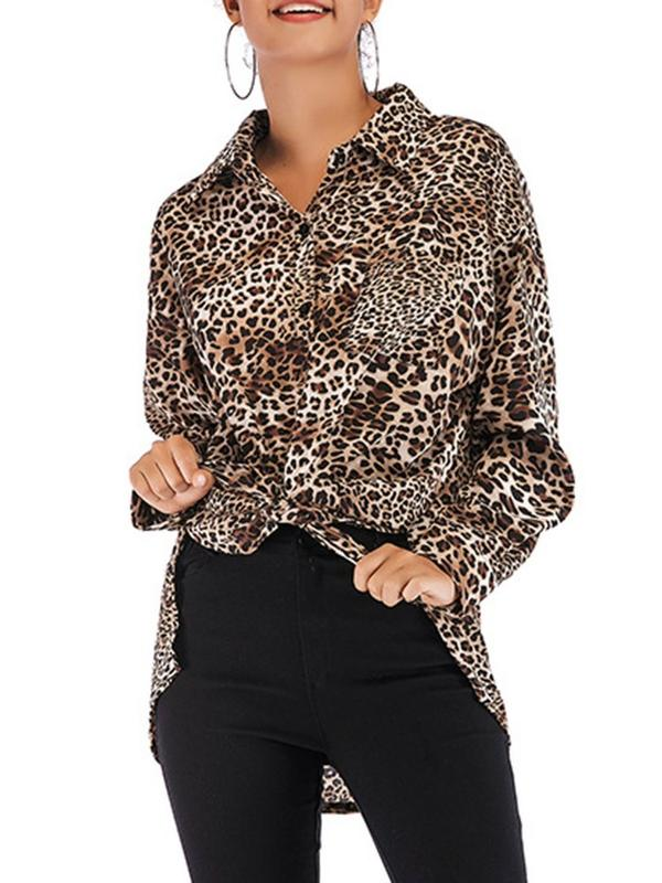 Dekorhea Asymmetric Leopard Lapel Mid-Length Long Sleeve shirt blouse