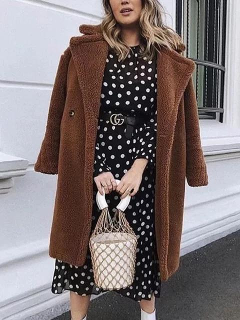 Brown Buttoned Cashmere Long Sleeve Teddy Bear Coats