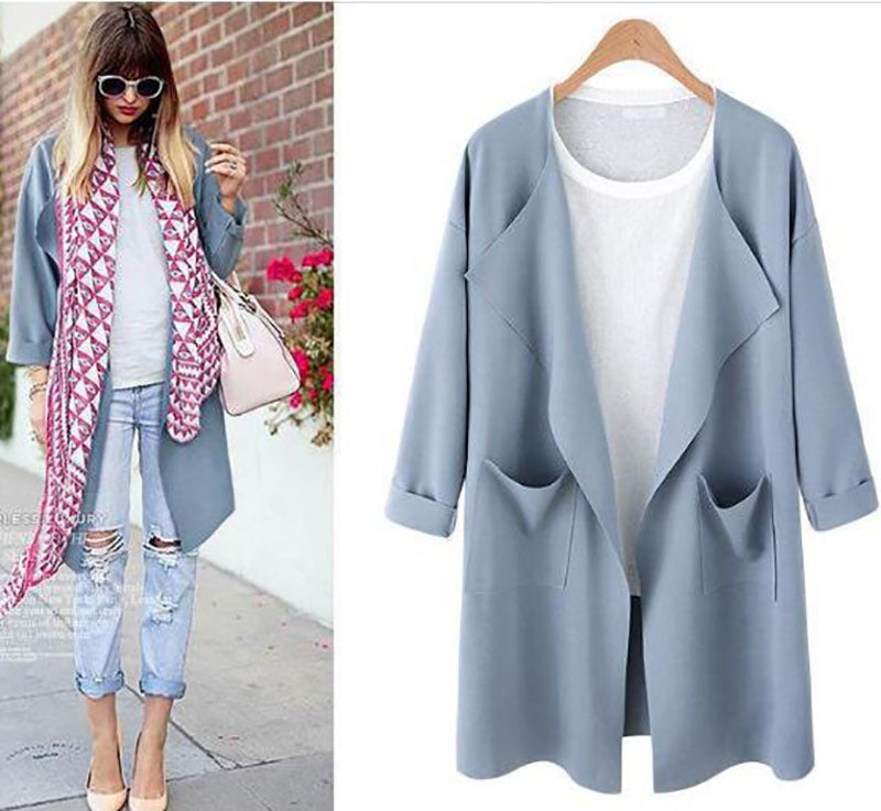 Dekorhea Long Sleeve Casual Plain Polyester Cardigan