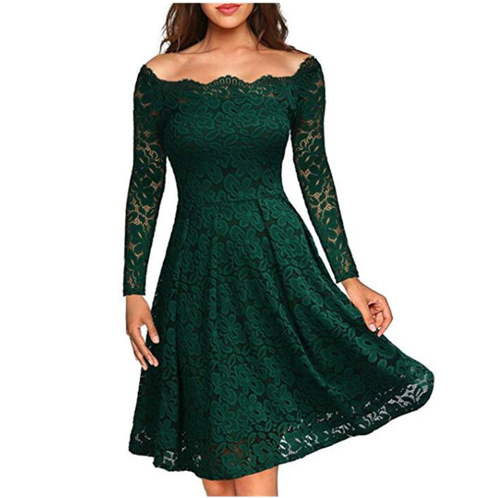Women's Vintage Floral Lace Boat Neck Cocktail Formal Swing Dress